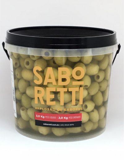 Azeitona Verde s/ Caroço Saboretti - Balde 2Kg