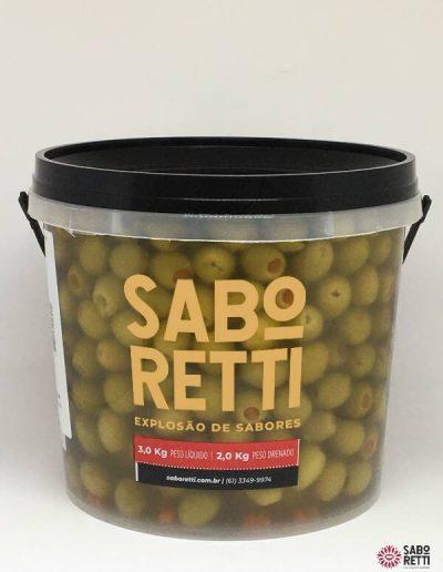 Azeitona Verde Recheada Saboretti - Balde 2Kg
